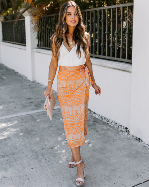 Jaspre Printed Wrap Skirt