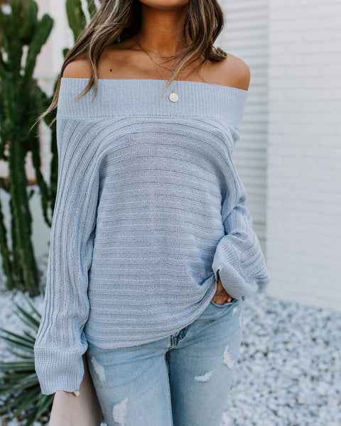 Raise The Bar Off The Shoulder Dolman Sweater - Light Blue