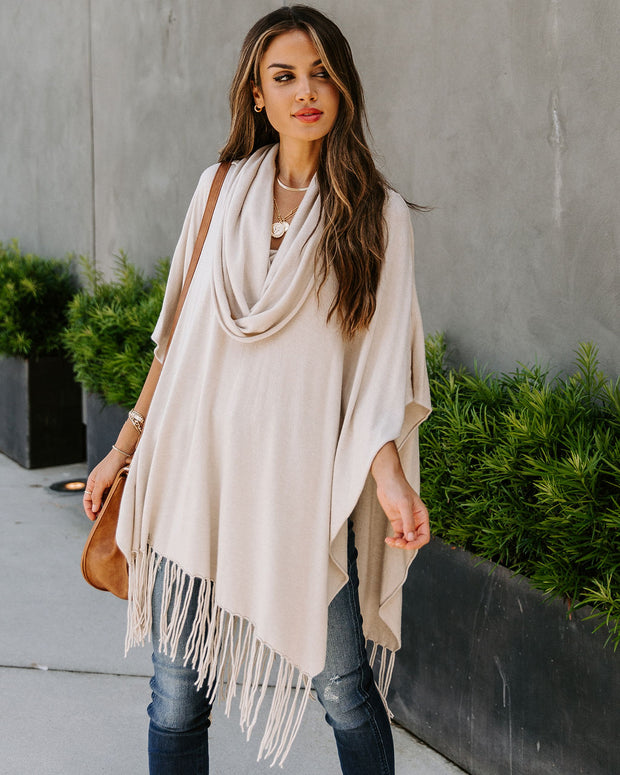 Novia Fringe Knit Poncho - Bone - FINAL SALE
