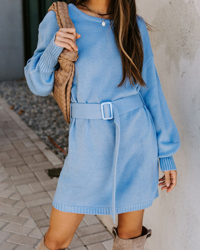 Perry Belted Knit Sweater Dress - Blue