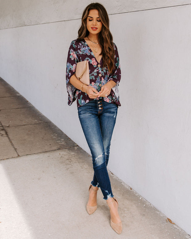 Ellsworth Floral Button Down Kimono Top