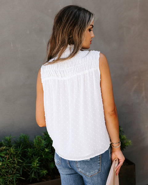 Media Smocked Swiss Dot Sleeveless Top - White