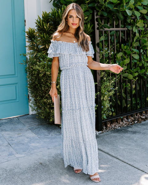 Virgil Off The Shoulder Ruffle Maxi Dress