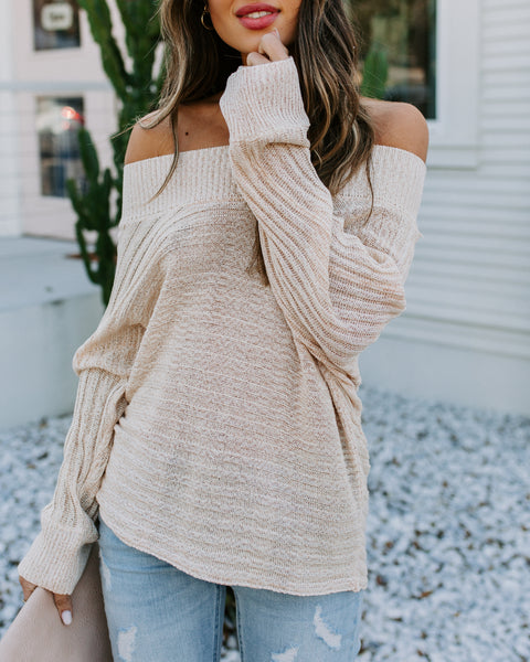 Raise The Bar Off The Shoulder Dolman Sweater - Taupe