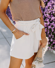 Marianna Pocketed Textured Tie Shorts - Marshmallow