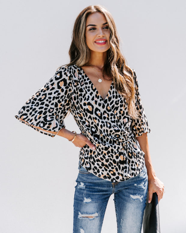 Sylvester Leopard Drape Blouse - FINAL SALE