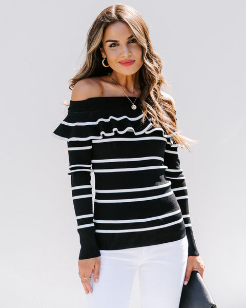 Curlicue Off The Shoulder Striped Knit Top - Black - FINAL SALE