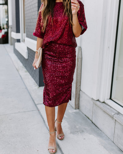 Orchestra Sequin Midi Skirt