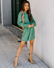 Perry Belted Knit Sweater Dress - Sage