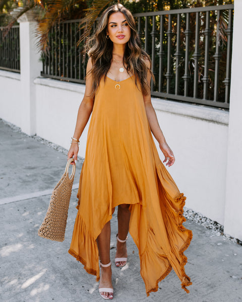 Canary Islands Cascading Ruffle Midi Dress - Turmeric