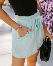 Marianna Pocketed Textured Tie Shorts - Mint