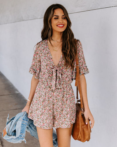 Deep In Love Floral Tie Front Romper