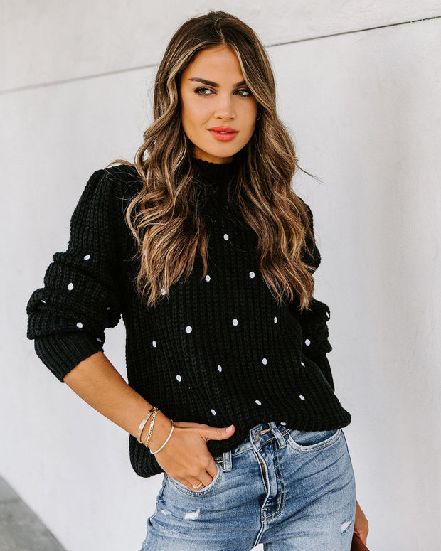 Payton Embroidered Polka Dot Knit Sweater - Black