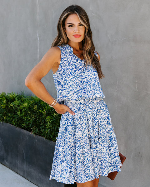 Riva Sleeveless Printed Dress - Blue