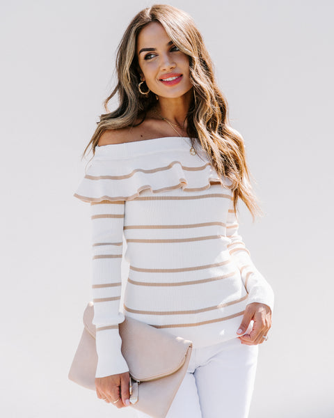 Curlicue Off The Shoulder Striped Knit Top - Ivory - FINAL SALE