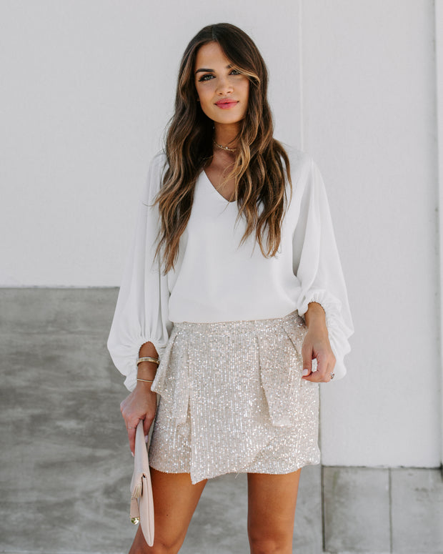Clemence Sequin Ruffle Mini Skirt