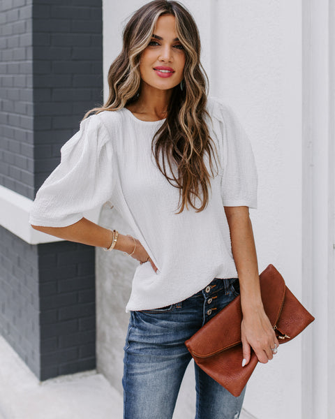 Clarice Statement Sleeve Textured Top - Off White