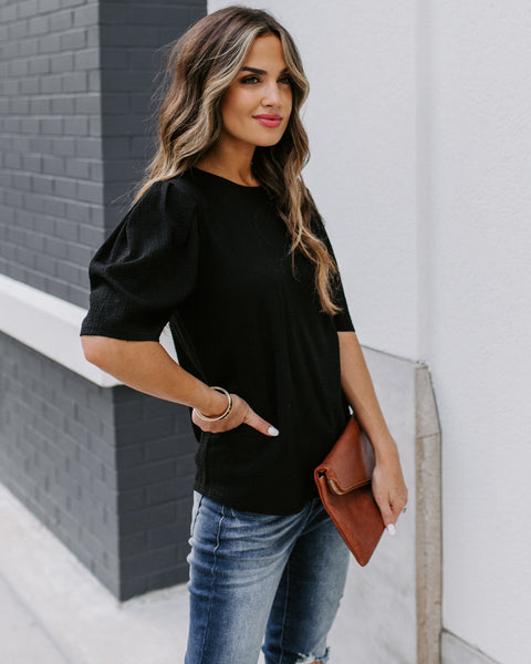 Clarice Statement Sleeve Textured Top - Black
