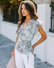 Within Reach Floral Ruffle Wrap Blouse - Seafoam