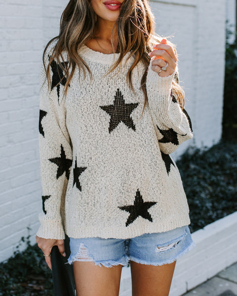 Make Headlines Knit Star Sweater - Cream