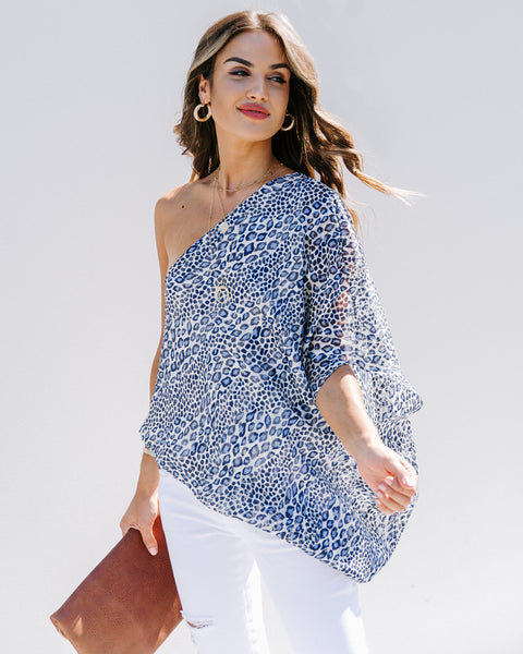 Jungle Fever Printed One Shoulder Blouse - FINAL SALE