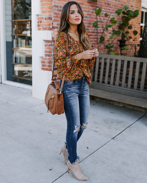 Sagrada Floral Lace Up Ruffle Blouse