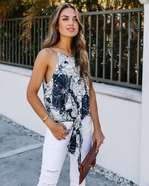 Boxwood Floral Tie Tank - Navy