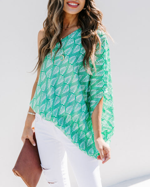 Lucky Clover Printed One Shoulder Blouse - FINAL SALE