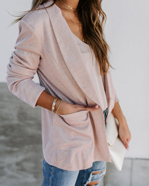Handful Of Glitter Pocketed Blazer - Rose Gold
