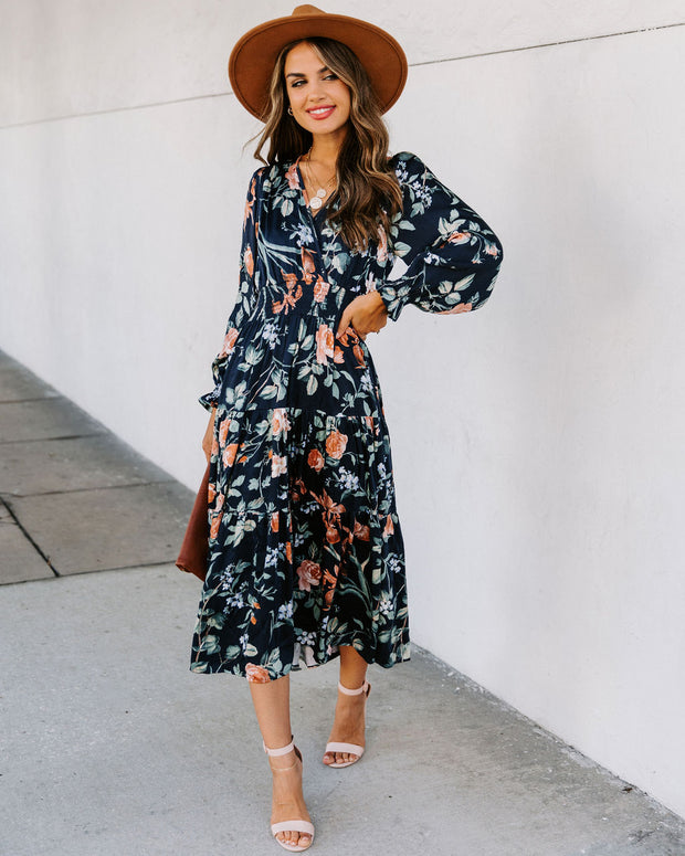 Fallbrook Floral Smocked Midi Dress