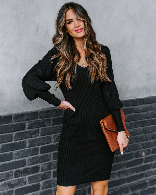 Allison Ribbed Bodycon Sweater Dress - Black