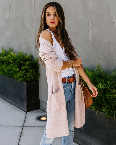 Calgary Pocketed Knit Cardigan - Blush