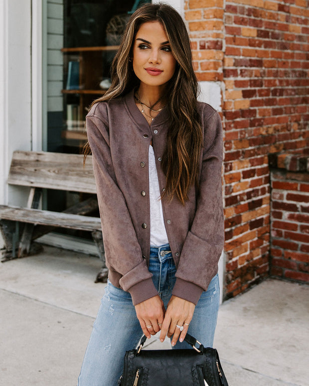 Jase Pocketed Faux Suede Bomber Jacket