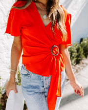 Cayenne Short Sleeve Wrap Blouse