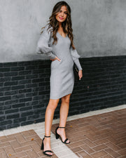 Allison Ribbed Bodycon Sweater Dress - Grey