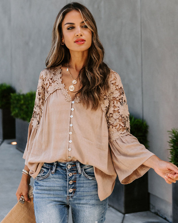 Kami Crochet Lace Button Down Top - Taupe