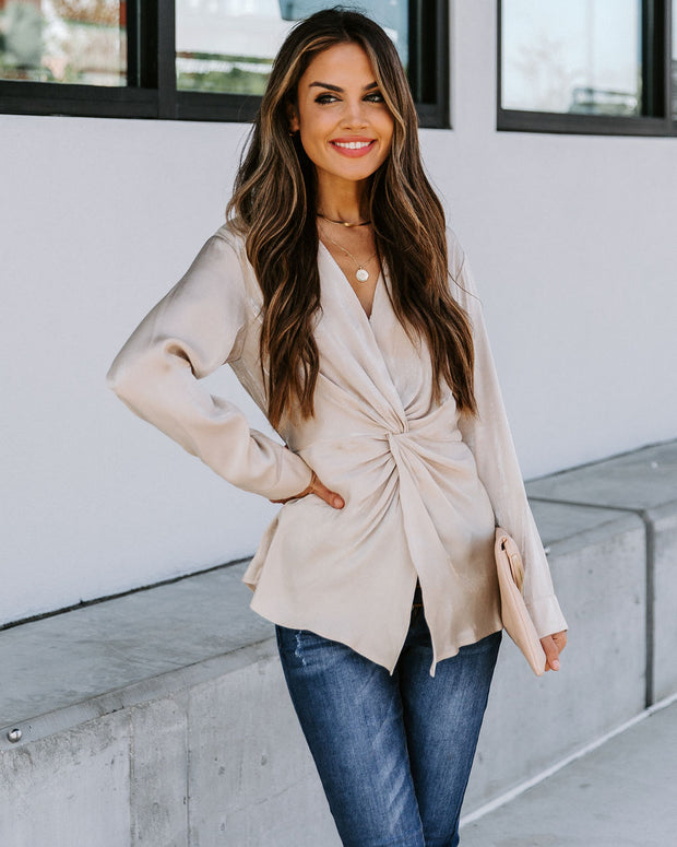 Josephine Satin Collared Twist Blouse - Taupe  - FINAL SALE view 1