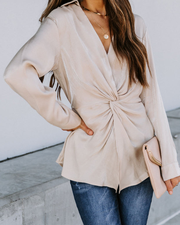 Josephine Satin Collared Twist Blouse - Taupe  - FINAL SALE view 5