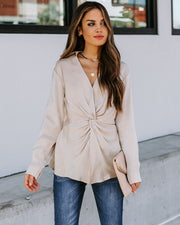Josephine Satin Collared Twist Blouse - Taupe  - FINAL SALE view 9