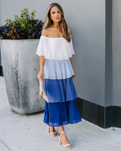 Colors Of The Sea Off The Shoulder Tiered Midi Dress