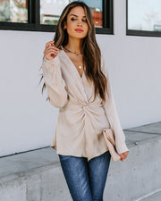Josephine Satin Collared Twist Blouse - Taupe  - FINAL SALE view 7