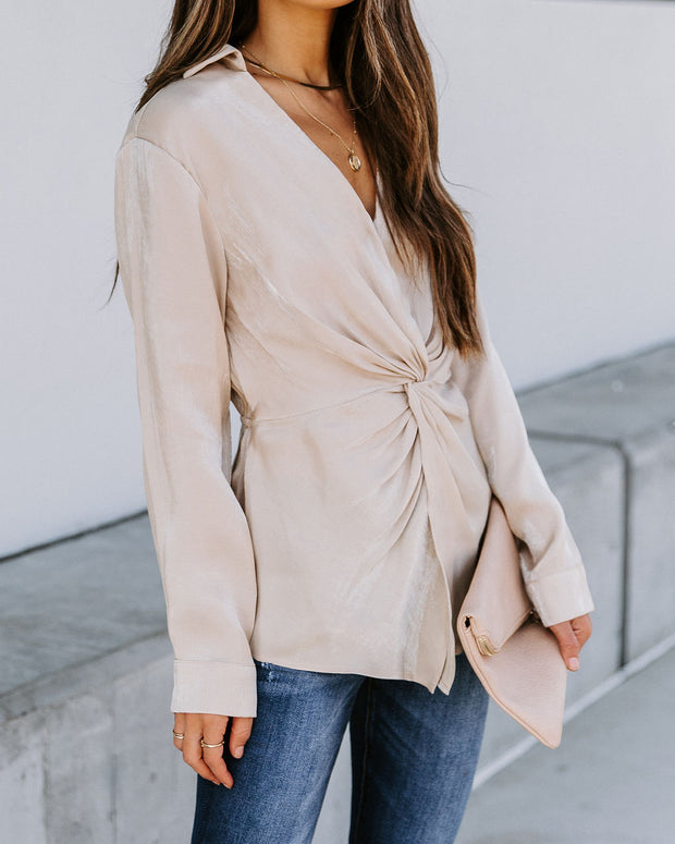 Josephine Satin Collared Twist Blouse - Taupe  - FINAL SALE view 10