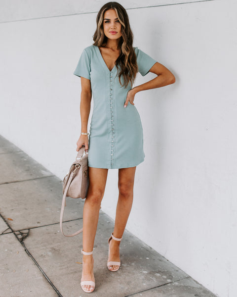 Dawson Button Down Ribbed Knit Dress - Sage
