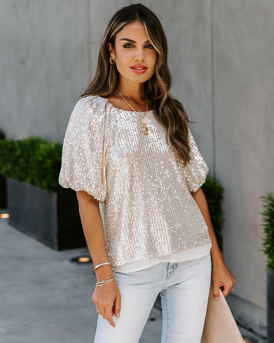 Secrecy Sequin Puff Sleeve Top
