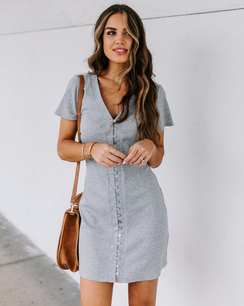 Dawson Button Down Ribbed Knit Dress - Heather Grey