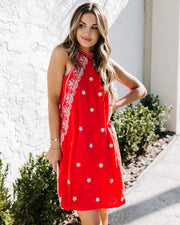 Monte Vista Embroidered Dress - Red