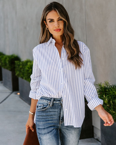 Strive Cotton Striped Button Down Top