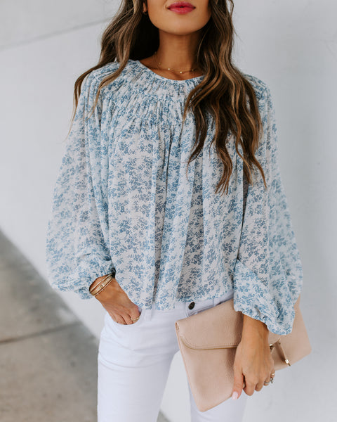 Asheville Floral Balloon Sleeve Blouse