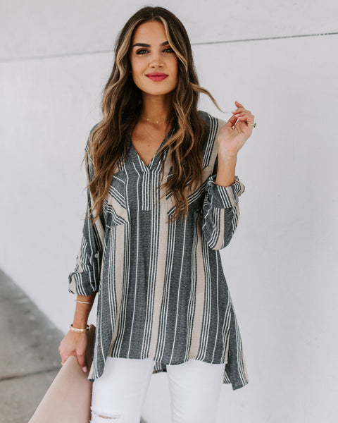 Channing Striped Pocket Top