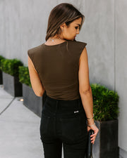 Influential Sleeveless Knit Bodysuit - Olive